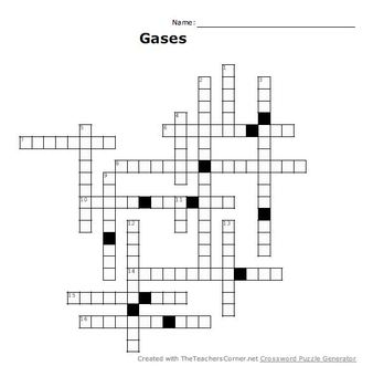 Gases Crossword Puzzle