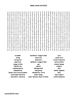 Gases, Liquids, and Solids Vocab. Word Search for General