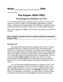 Gaspee Affair DBQ