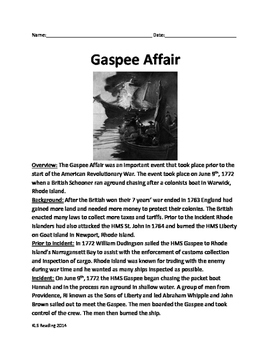 Gaspee Affair Days - Revolutionary War article questions vocabulary