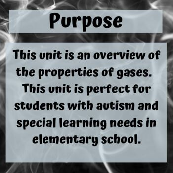 Gasses Science Unit for Special Education