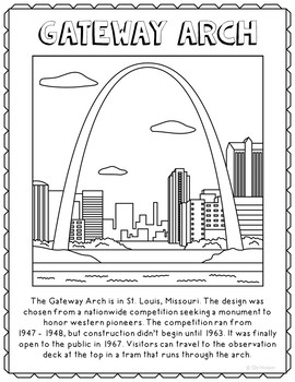 Gateway Arch Informational Text Coloring Page Activity or Poster