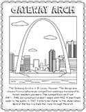 Gateway Arch Informational Text Coloring Page Craft or Poster