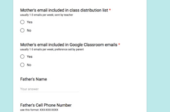 Gather Parent Information through GOOGLE Forms - Editable!