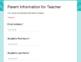 Gather Parent Information through GOOGLE Forms - Editable!