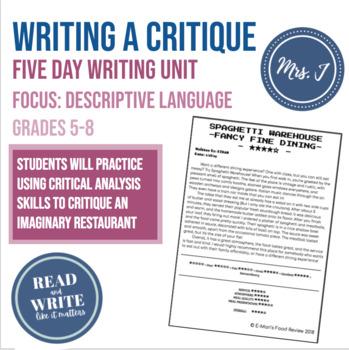 Gather Together Food Critique Mini-Writing Unit: Focus on Descriptive Language
