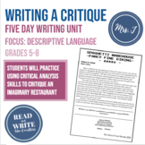 Gather Together Food Critique Mini-Writing Unit: Focus on
