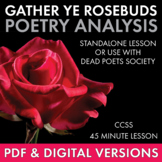 Gather Ye Rosebuds... Poetry Analysis Worksheet for Robert Herrick's Poem
