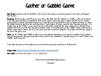 Gather or Gobble! ABC Thanksgiving Game