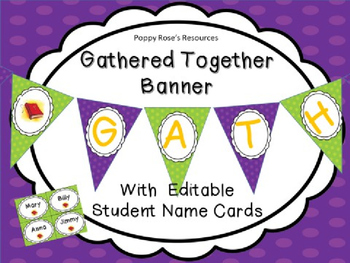 Gathered Together Banner and Editable Name Cards - Religious Theme