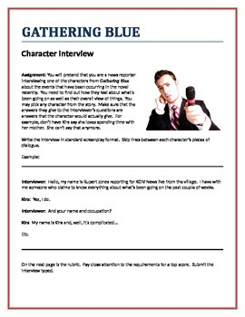 Gathering Blue - Character Interview writing assignment