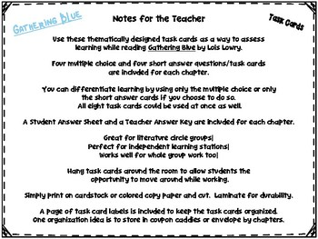 Gathering Blue by Lois Lowry Task Cards (Chapters 7-9)