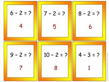 Subtraction Math Game for Centers