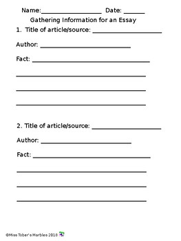 Gathering Information Simple Worksheet