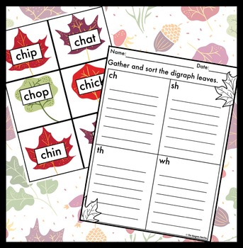 Fall Activity CH, SH, TH, & WH Digraph Sort {Leaf Theme}