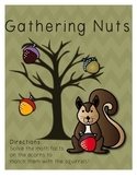 Gathering Nuts - Addition and/or Subtraction File Folder Game