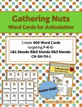 Gathering Nuts Word Cards for Articulation