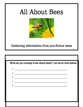 Gathering Infromation From Non-Fiction Texts: All about Bees Booklet