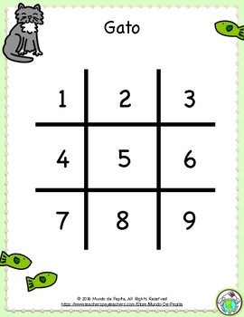 Gato Tic Tac Toe Game Boards & Markers for Spanish Class