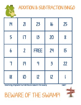 Gator Addition and Subtraction Bingo
