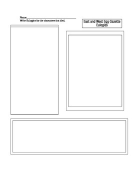 Gatsby Activity Templates Eulogies and Book Review