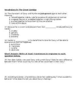 Gatsby Assessment: Chapters 4-6