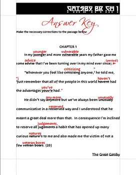 Gatsby Bell Ringers/Warm Ups Chapters 1-9