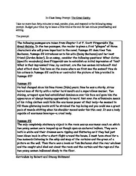 Gatsby Ch. 1 Writing Response to Close Reading