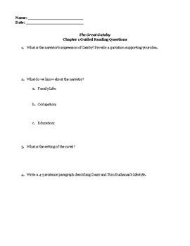 Gatsby Chapter 1 Guided Reading Questions