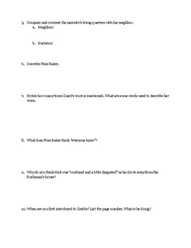 """The Great Gatsby"" Chapter 1 Guided Reading Questions"