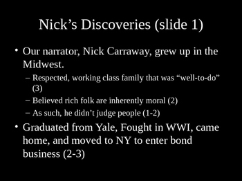 Gatsby - Chapter 1 PPT