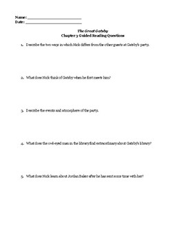 """""""The Great Gatsby"""" Chapter 3 Guided Reading Questions"""