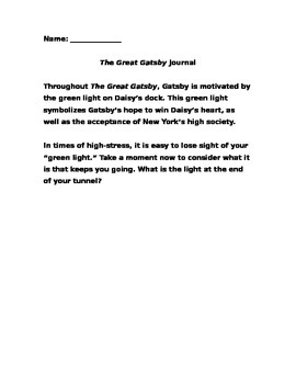 Gatsby Green Light Journal