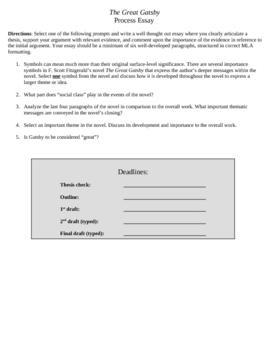 Gatsby Process Paper Assignment