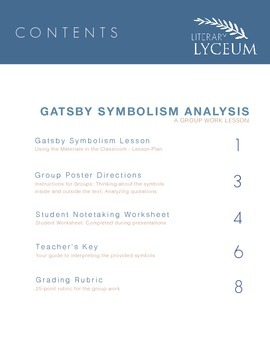 The Great Gatsby Symbolism Group Work Lesson