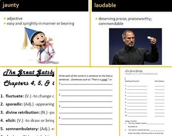 great gatsby vocabulary Literature is an endless source of material for vocabulary study, so why not use the titles youre already teaching to introduce your students to hundreds.