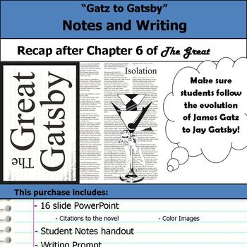Gatz to Gatsby Notes and Writing Prompt The Great Gatsby