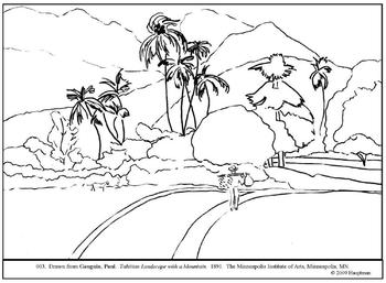 Gauguin. Tahitian Landscape...  Coloring page and lesson plan ideas