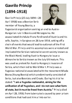 Gavrillo Princip Handout