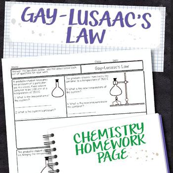 Gay Lusaac's Law Chemistry Homework Worksheet