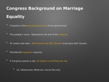 Gay Marriage & Federalism PowerPoint: The Long Road to Marriage Equality