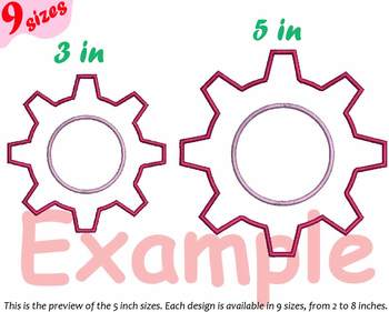 Gear Cogwheel Embroidery Design outline Clock Rotate Machine 134b