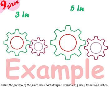 Gear Cogwheel Embroidery Design outline Clock Rotate Machine 181b