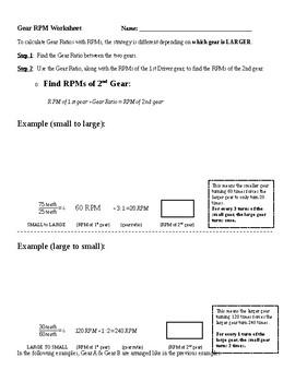 Gear Ratio RPM Worksheet