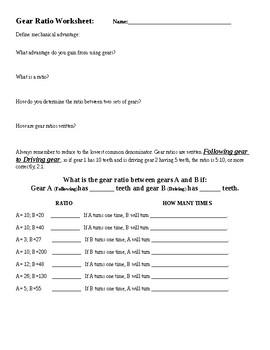 Gear Ratio Worksheet