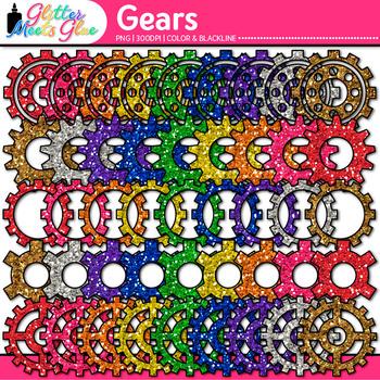 Rainbow Gears Clip Art {STEM & STEAM Science Graphics, Eng