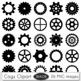 Gears Clipart Cogs Clip Art Steampunk Scrapbooking Silhoue