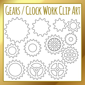 Gears, Cogs and Clockwork Clip Art Set for Commercial Use