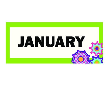 Gears on Green Monthly Calendar Headers Set of 12 on Green