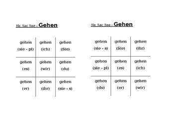 Geben, Gehen, Haben, Sein, Tun, Werden, Wissen German verbs Tic Tac Toe
